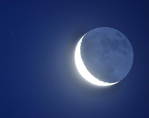 明け方の月と星々 (2011/10/24)