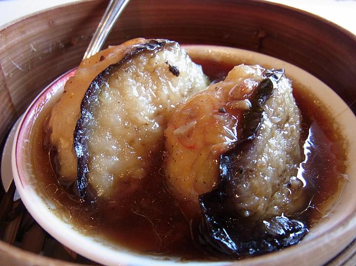茄子と海老の黒豆ソース