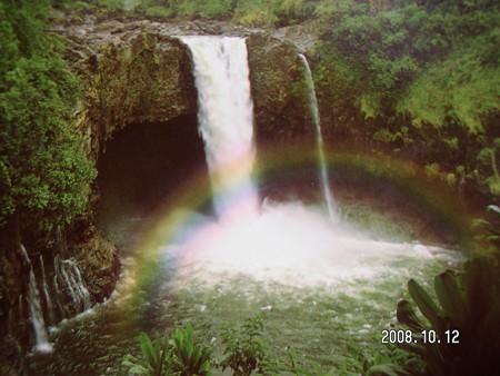 ポストカードのレインボー滝