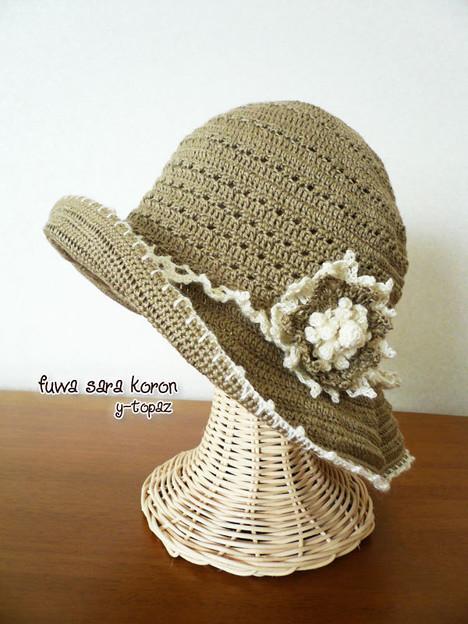 ラミーの夏帽子にお花のコサージュ 3